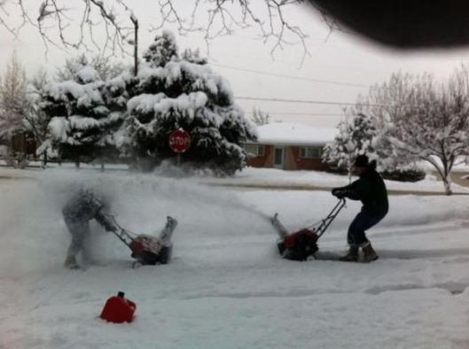 snowblower wars snow fun