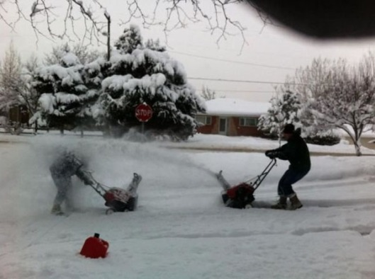 snowblower wars snow fun