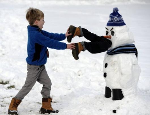 snowman eats person snow fun