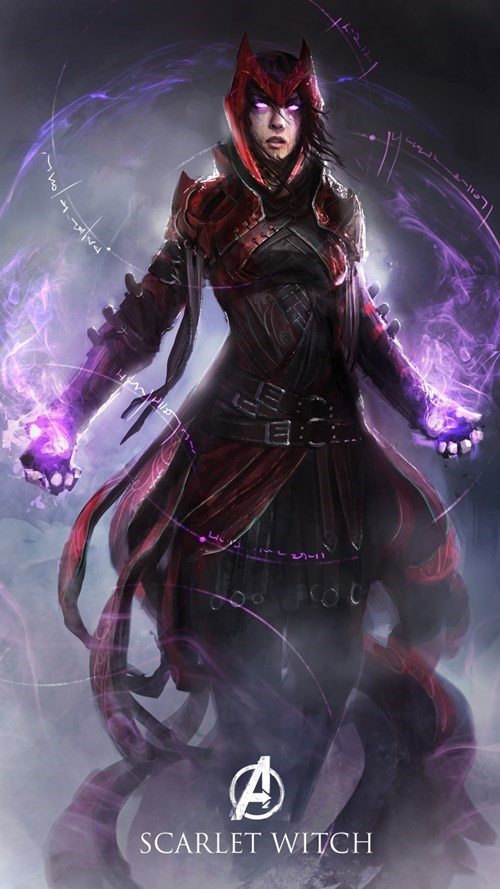 Scarlet Witch villian Marvel Avengers fantasy style