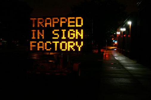 trapped hacked traffic sign
