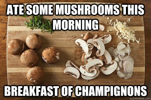 Ate some mushrooms this morning. Breakfast of champignons