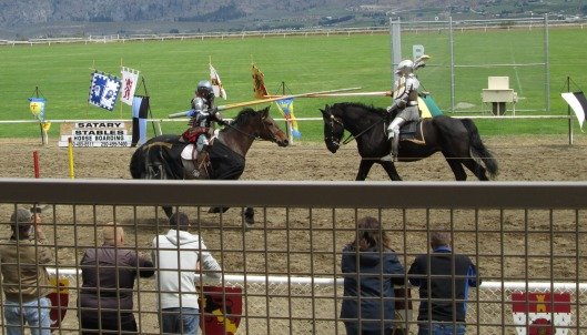 medieval jousting in full armor, knights