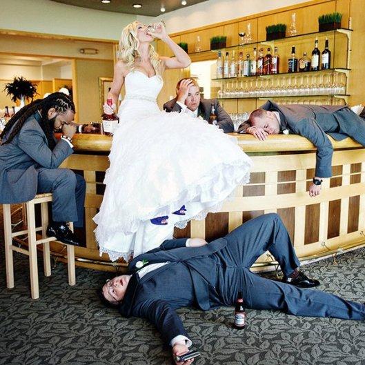 drunk wedding bride groom groomsmen