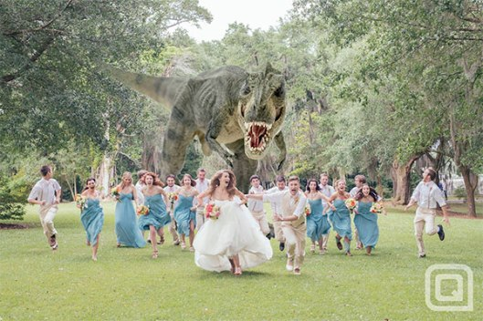 flee from the dinosaur on your wedding! T-rex
