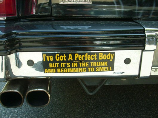 I've got a perfect body, but it's in the trunk and it's starting to smell