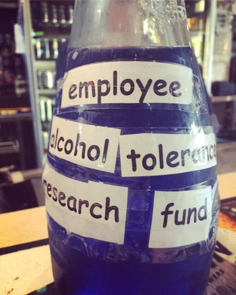 employee alcohol tolerance research fund tip jar