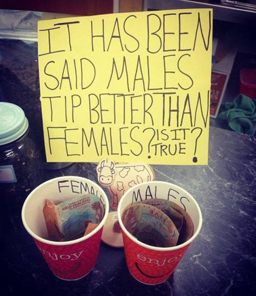 men versus women tipping jar