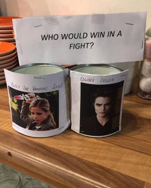 Cullen versus Buffy tipping jar
